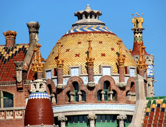 Details of the pavilions of the Art Nouveau Site in Barcelona