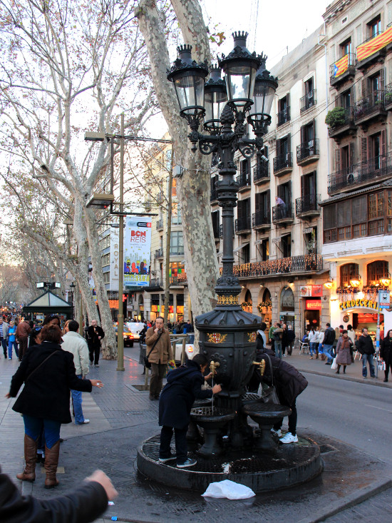 The Barcelona Rambla, the old town