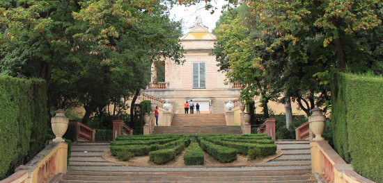 Stairs leading to the neoclassical pavilion in the Labyrinth Park