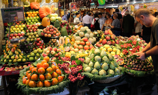 A fruit stand in the Boqueria Market of Barcelona