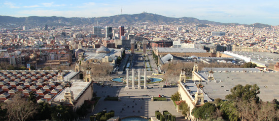 View from the MNAC, the National Art Museum of Catalonia in Montjuic